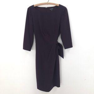 Tahari purple ruched faux wrap classy dress 8